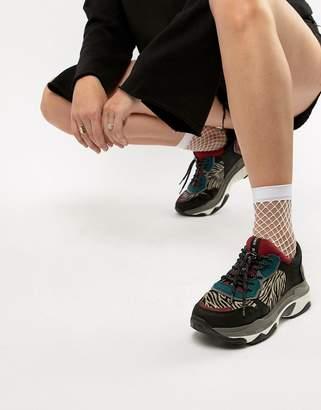 Bronx leather & zebra pony print chunky sneakers
