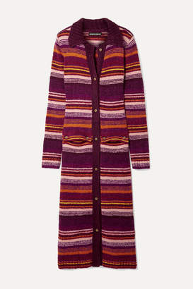 House of Holland Striped Knitted Cardigan - Burgundy