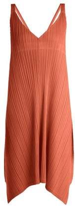Pleats Please Issey Miyake Pleated V Neck Dress - Womens - Tan