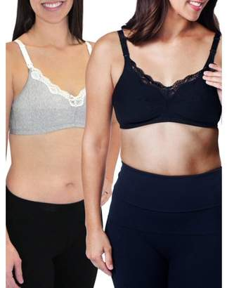 fa23fa02f0fc2 Loving Moments by Leading Lady Maternity Wirefree Nursing Bra with Full  Sling 2 Pack