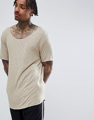 BEIGE Asos Design ASOS DESIGN relaxed longline t-shirt with scoop neck and curved hem in drapey interest fabric in