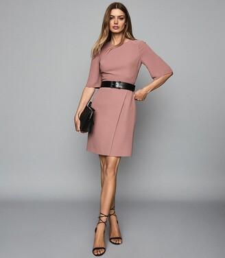 Reiss MYRA TAILORED WRAP FRONT DRESS Pink