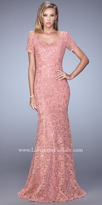 La Femme All Over Lace Modest Short Sleeve Evening Dress $698 thestylecure.com