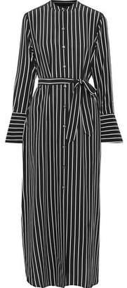 Equipment Connell Belted Striped Silk Maxi Shirt Dress