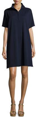 Joan Vass Short-Sleeve Pique Dress, Petite