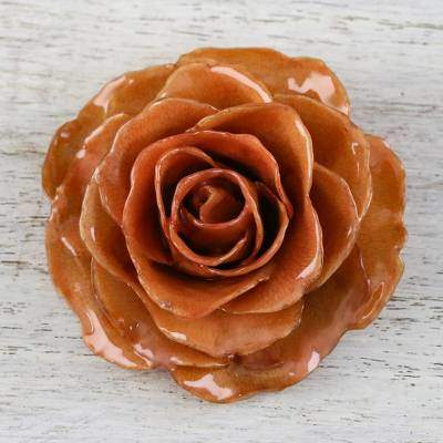 Rosy Mood in Orange Handcrafted Natural Rose Brooch Pin in Orange from Thailand