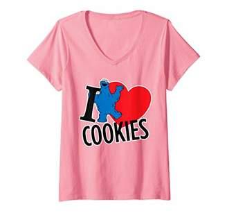 Sesame Street Womens Cookie Monster I Heart Cookies V-Neck T-Shirt