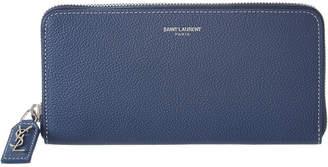 Saint Laurent Rive Gauche Leather Zip Around Wallet