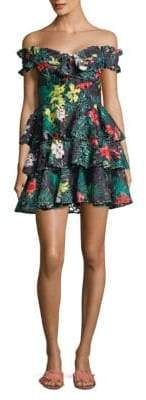 Caroline Constas Helena Floral-Print Lace Tiered Dress