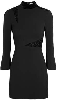 A.L.C. Black Velvet-trimmed Mini Dress