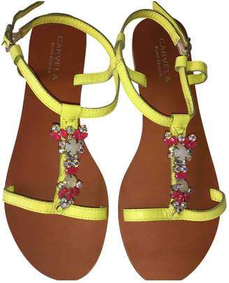 Carvela Yellow Leather Sandals