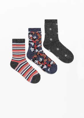 Festive Print Metallic Socks Gift Box