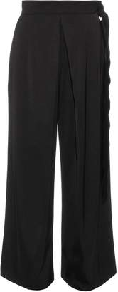 Maison Rabih Kayrouz Belted wide-leg silk-blend satin trousers