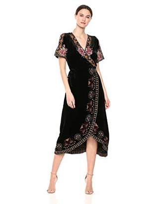 Johnny Was JWLA By Women's Short Sleeve Embroidered Wrap Dress