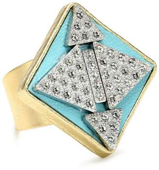"SANDY HYUN Deluxe Deco"" Leather with Crystal Rhinestone Diamond Shape Adjustable Ring"