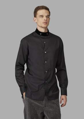 Giorgio Armani Regular-Fit Shirt With Asymmetric Velvet Collar
