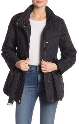 London Fog Quilted Belted Jacket