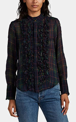 Icons Objects of Devotion Women's Tuxedo Ruffle-Trimmed Plaid Blouse - Green