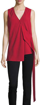 Victoria Beckham Sleeveless Draped Crepe Top, Red