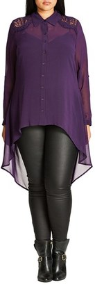 City Chic 'Cheeky Cowl' High/Low Shirt (Plus Size) $69 thestylecure.com