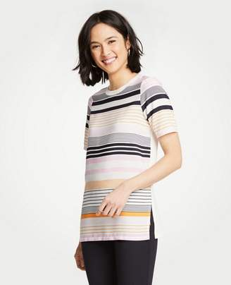 Ann Taylor Petite Striped Mixed Media Tunic