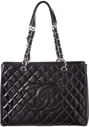 Chanel Black Quilted Patent Leather Grand Shopper Tote