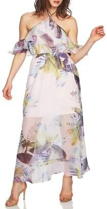 Cynthia Steffe CeCe by Danielle Tropical Print Cold Shoulder Maxi Dress