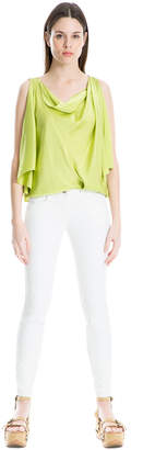 Max Studio draped silk charmeuse top