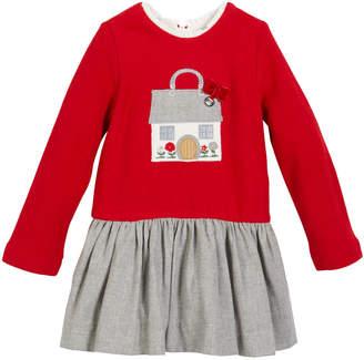 Mayoral Fleece House Applique Long-Sleeve Dress, Size 12-36 months