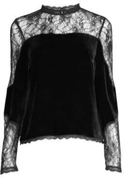 Joie Cassina Velvet& Lace Cut-Out Blouse