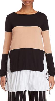 Alysi Stripe Mixed Media Tunic Sweater