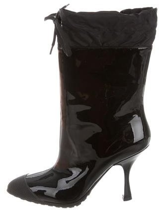 Miu Miu Miu Miu Patent Leather Drawstring Ankle Boots w/ Tags