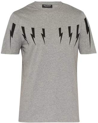 Neil Barrett Lightning Bolt Print Stretch Cotton T Shirt - Mens - Grey