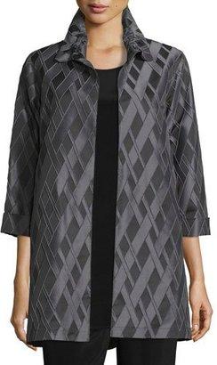 Caroline Rose 3/4-Sleeve Diamond Jacquard Topper Jacket $485 thestylecure.com