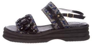 Dries Van Noten Embellished Jacquard Slingback Sandals