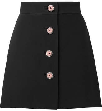 Miu Miu Embellished Cady Mini Skirt - Black