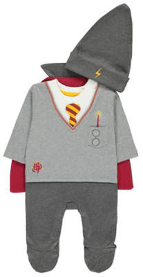 George Halloween Harry Potter Grey All-in-One with Hat and Cape