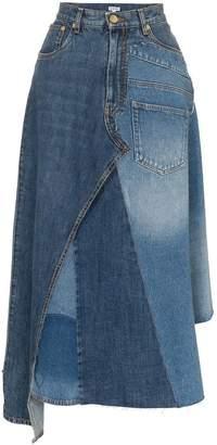 Loewe asymmetric patchwork denim skirt
