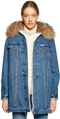 Fur Collar Denim & Faux Shearling Coat