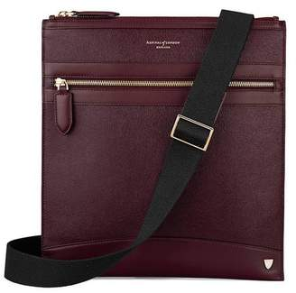 Aspinal of London Anderson Small Messenger Bag In Burgundy Saffiano