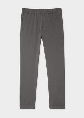 Paul Smith Men's Grey Cotton-Blend Drawstring Trousers