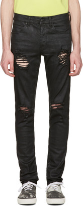 Off-White Black Slim Rips Diagonal Jeans $720 thestylecure.com