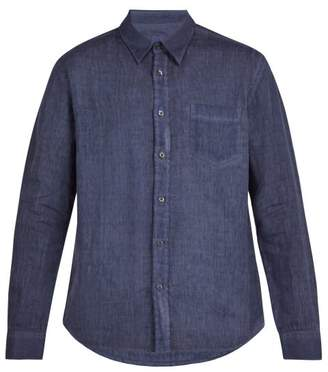 120% Lino Single Cuff Linen Shirt - Mens - Dark Navy