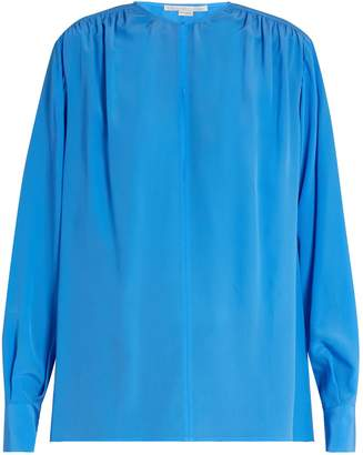 Stella McCartney Gathered round-neck silk blouse