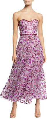 Marchesa Strapless 3D Floral Embroidery Dress