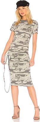 Monrow Camo Crew Neck Shirred Dress