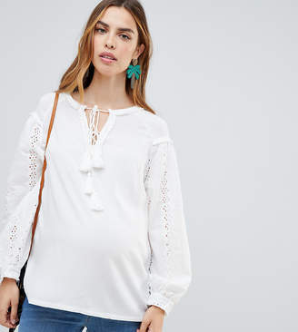Glamorous Bloom Broderie Tunic Top With Tie Detail