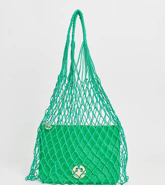 Hill & Friends Hill and Friends Happy string shopper with leather pouch in green