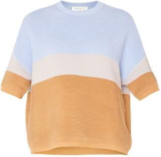 Paisie Three-Tone Short Sleeve Ribbed Jumper In Light Blue, Light Grey & Tan