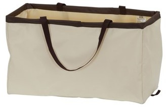 Household Essentials Krush Rectangle Utility Tote Bag, Natural with Brown Trim